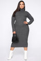 Soft Spot For You Sweater Dress - Charcoal