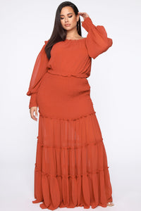 Free Will Smocked Maxi Dress - Rust