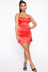 Dirty Shirley Satin Mini Dress - Red Angle 1