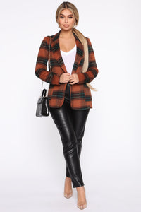 But First Coffee Plaid Blazer - Brown