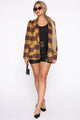 But First Coffee Plaid Blazer - Mustard