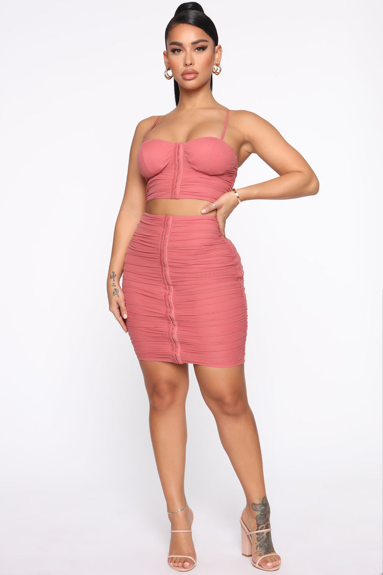 Ruching To Your Side Skirt Set   Mauve by Fashion Nova
