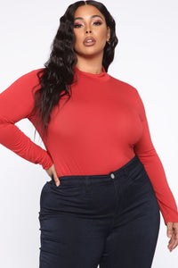 Lovin' On You Mock Neck Top - Rust