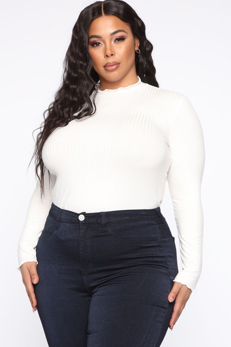 Steppin' Up Mock Neck Top - Off White