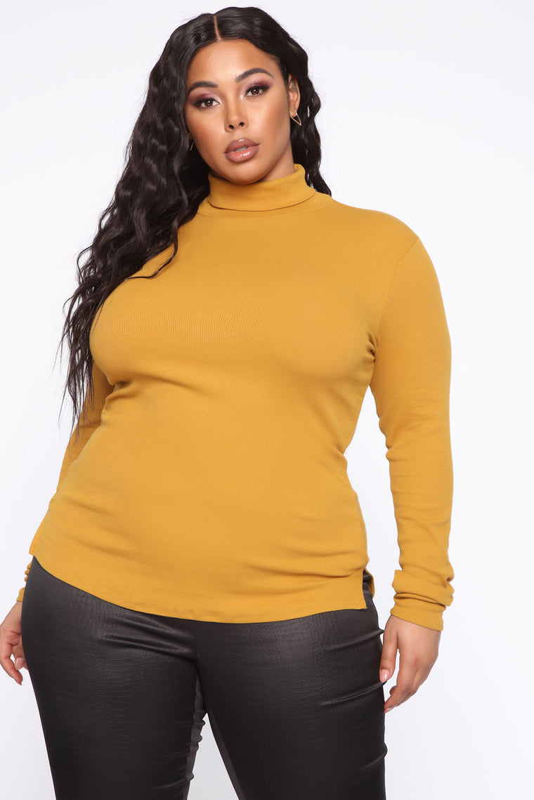 Denyin' Love Turtle Neck Top - Mustard