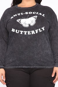 Anti-Social Butterfly Mineral Wash Tee - Black