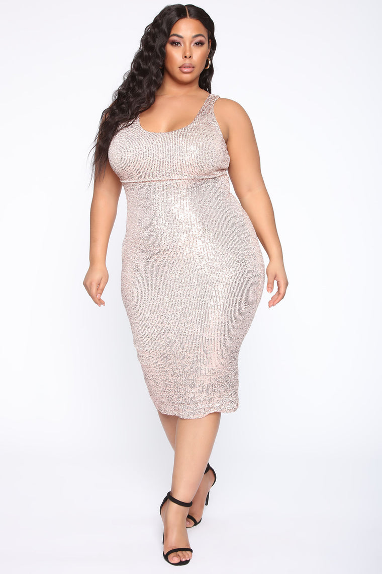 Lost For Sparkle Midi Dress - Champagne