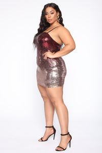 Bright Sprinkles Ombre Sequin Mini Dress - Wine
