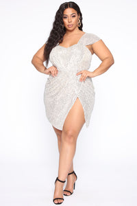 Buy Me A Drink Sequin Mini Dress - Silver