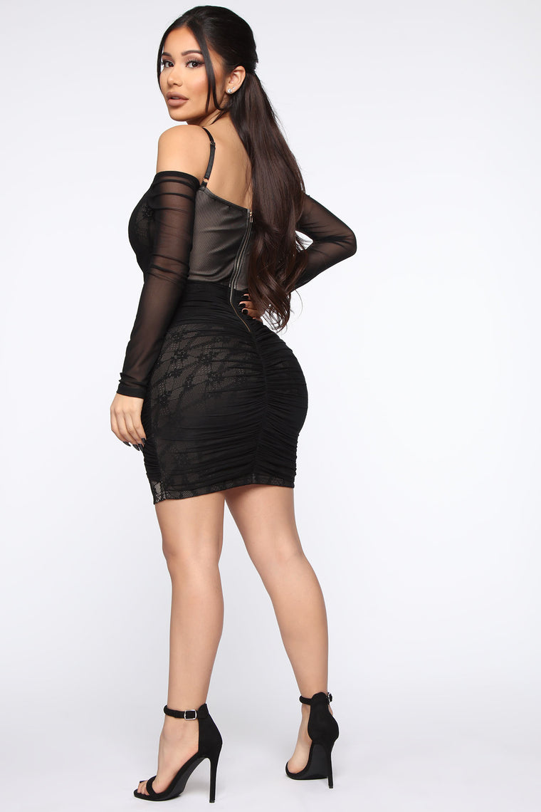 Making The Rules Lace Mini Dress - Black/Nude