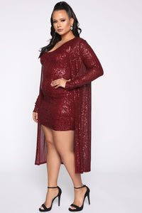 Glam Doll 2 Piece Sequin Dress Set - Burgundy Angle 7
