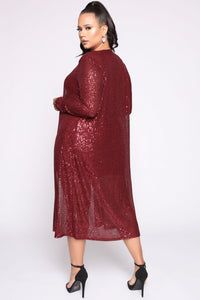 Glam Doll 2 Piece Sequin Dress Set - Burgundy Angle 9