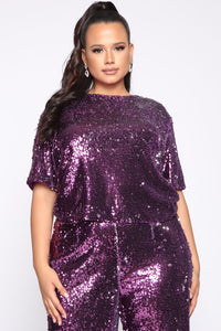 Can't Relate Sequin Pant Set - Purple Angle 4