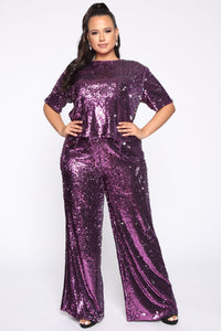 Can't Relate Sequin Pant Set - Purple Angle 1
