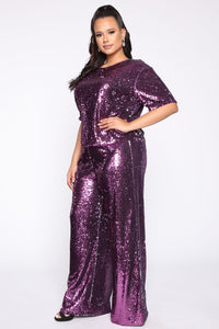 Can't Relate Sequin Pant Set - Purple Angle 3