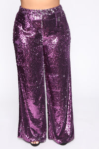 Can't Relate Sequin Pant Set - Purple Angle 6