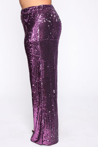 Can't Relate Sequin Pant Set - Purple