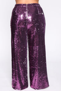 Can't Relate Sequin Pant Set - Purple Angle 8