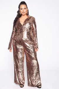 Shinin' Bright Sequin Pant Set - Rose Gold Angle 1