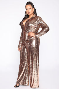 Shinin' Bright Sequin Pant Set - Rose Gold Angle 3
