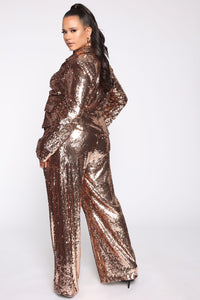 Shinin' Bright Sequin Pant Set - Rose Gold Angle 5