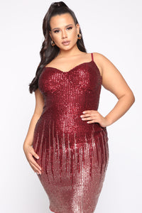 Striking Arrival Sequin Mini Dress - Burgundy/RoseGold