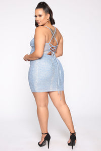 Better Watch Out Snake Print Mini Dress - LightBlue/Combo