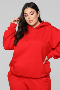 Stole Your Boyfriend's Oversized Hoodie - Red Angle 6