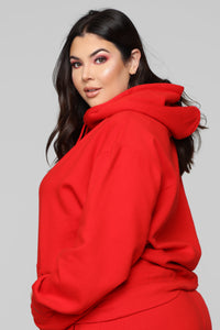 Stole Your Boyfriend's Oversized Hoodie - Red Angle 8