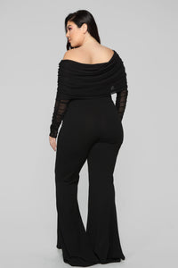 Kendall Ruched Jumpsuit - Black Angle 9
