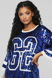 Glam Game Jersey Shirt Dress - Royal