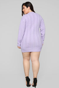 Keep Me Warm Sweater Dress - Lavender