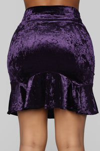 Feeling This Velvet Flounce Skirt - Plum