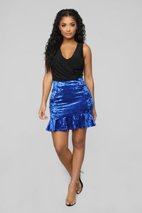 Feeling This Velvet Flounce Skirt - Royal