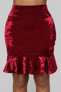 Feeling This Velvet Flounce Skirt - Burgundy