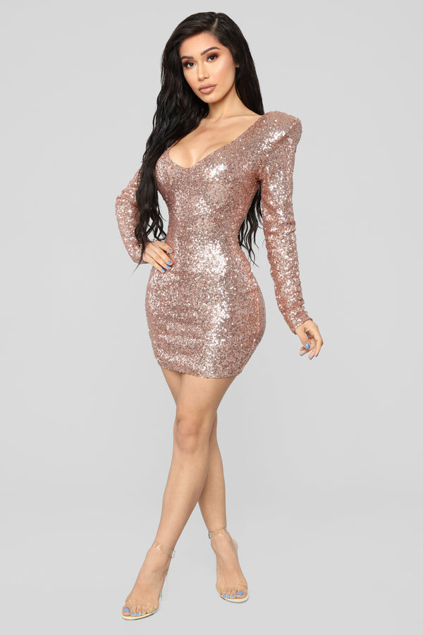 8e8b1af2a2172 Here To Shine Sequin Dress - RoseGold
