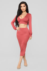 Just The Basics Skirt Set - Marsala