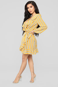 CIty Romance Stripe Dress - Mustard/Multi