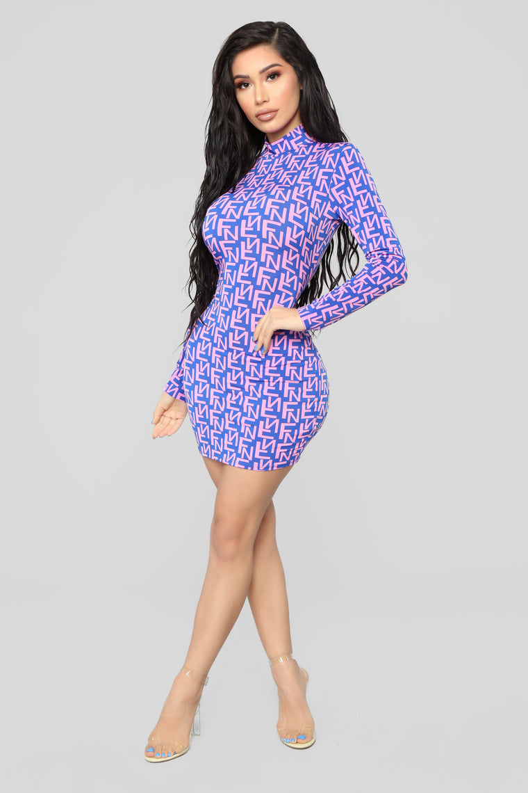 I FN Love It Mini Dress - Royal/Pink
