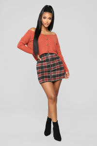 Scotty Doesn't Know Plaid Skirt - Grey/Combo Angle 1