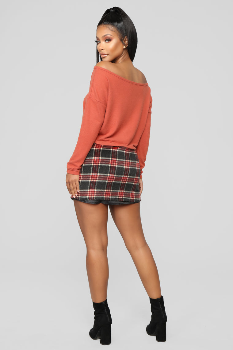 Scotty Doesn't Know Plaid Skirt - Grey/Combo