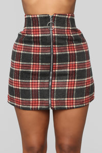 Scotty Doesn't Know Plaid Skirt - Grey/Combo Angle 2