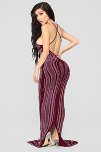 Stud And Done Maxi Dress - Burgundy