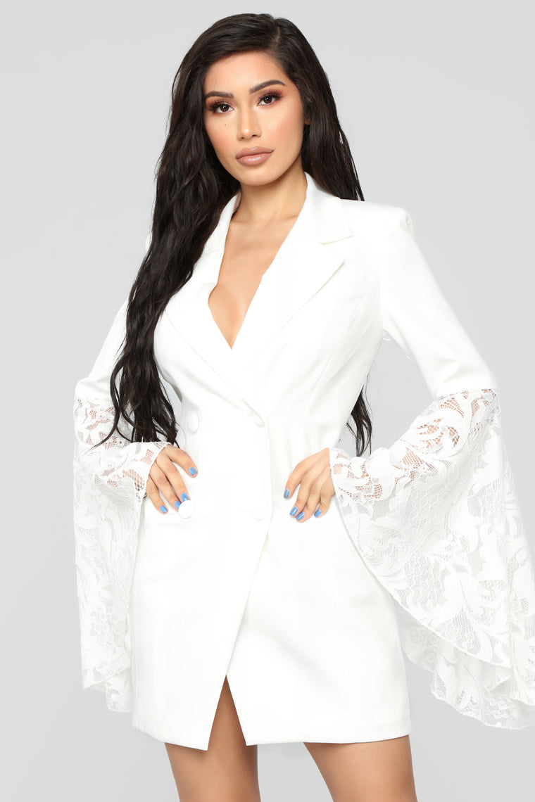 Chic Like Me Blazer Dress - White