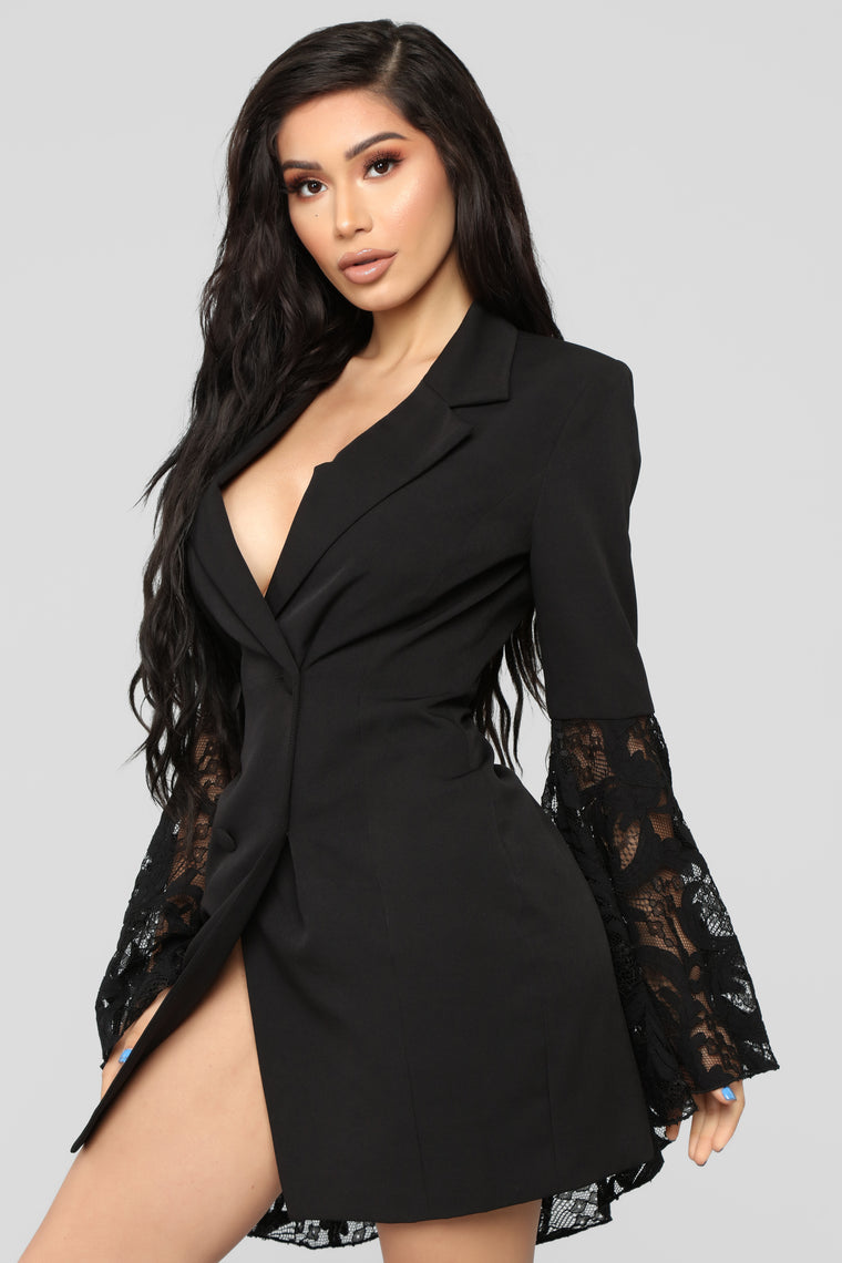 Chic Like Me Blazer Dress - Black