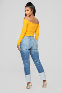 Breanna Lace Up Top - Mustard