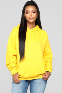 Stole Your Boyfriend's Oversized Hoodie - Yellow