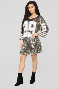 All Glammed Up Jersey Shirt Dress - Gold Angle 1