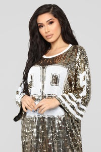 All Glammed Up Jersey Shirt Dress - Gold Angle 2