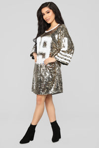All Glammed Up Jersey Shirt Dress - Gold Angle 3